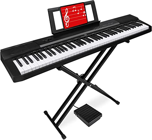 Best Choice Products piano digital de 88 teclas de tamaño completo con llaves semipesadas, soporte, pedal de sostenido