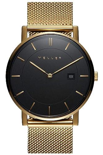 Meller Reloj Analógico para Unisex Adultos de Cuarzo con Correa en Acero Inoxidable 1ON-2GOLD: Amazon.es: Relojes