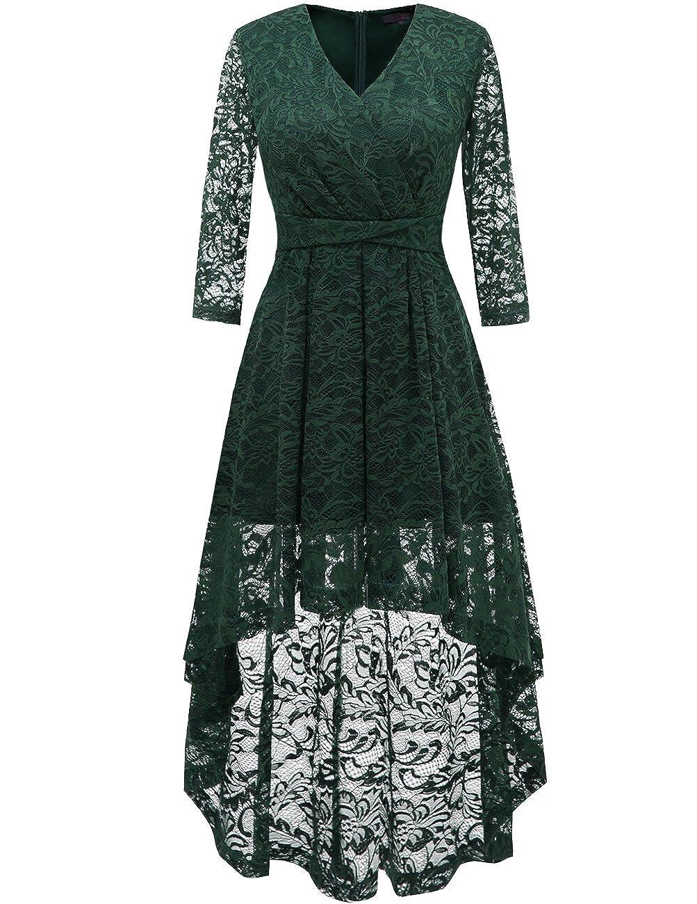 Dresstells Damen elegant Hi-Lo Cocktailkleid Unregelmässig Spitzenkleid Vokuhila Kleid mit V-Ausschnitt Festlich Party Ballkleid DTC10052P