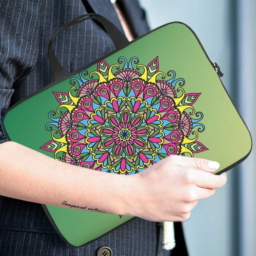 Stylish Laptop Sleeve Colorful Pink Green Mandala Bohemian Graphic Tablet Storage Bag Dustproof Neoprene Fabric Laptop Protective Case Cover for College Students White 13inch