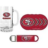 NFL Football Satin Etched Beer Mug, Bottle Opener & Coasters Set - 16 ounce Tankard Gift Set