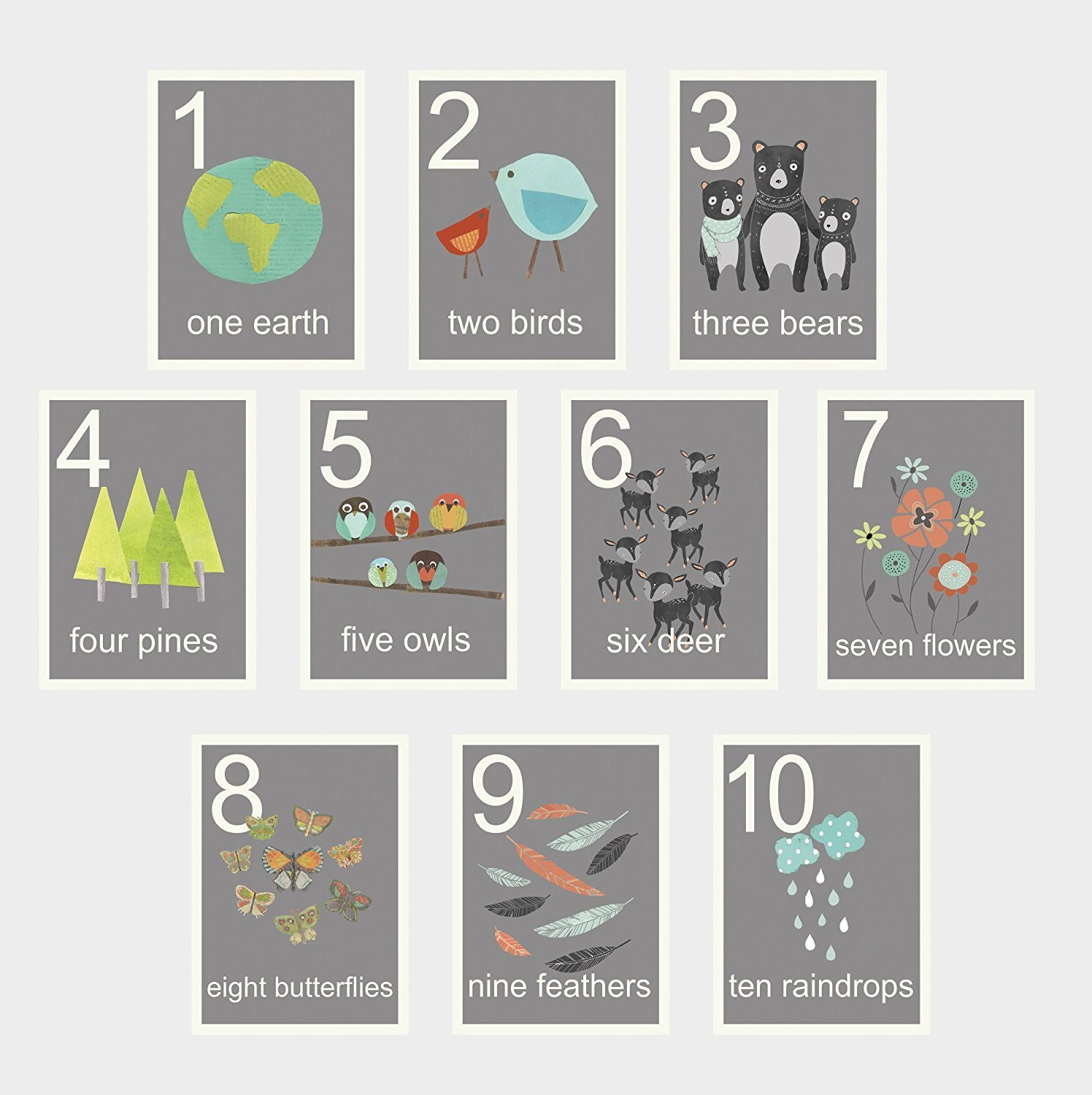 Our World Counting Wall Cards, Number Flash Cards, Set of Ten 5x7 Wall Art Prints, Nursery Wall Art Decor, Kid's Art Decor, Gender Neutral Nursery, Nature Themed, Woodland Nursery, Preschool Wall Art