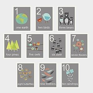 Our World Counting Wall Cards, Number Flash Cards, Set of Ten 5x7 Wall Art Prints, Nursery Wall Art Decor, Kid's Art Decor, Gender Neutral Nursery, Nature Themed, Woodland Nursery, Preschool Wall Art