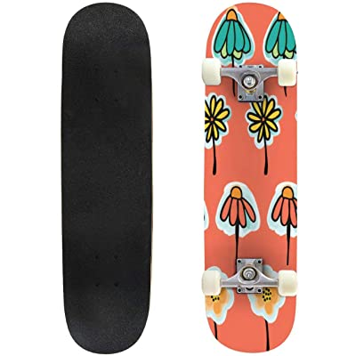 31 inch Skateboard doodle flowers in a row seamless pattern on a peach background bug Complete Longboard Standard Skate board Double Kick Tricks Skateboards for Kids Boys Girls Youths Beginners : Sports & Outdoors