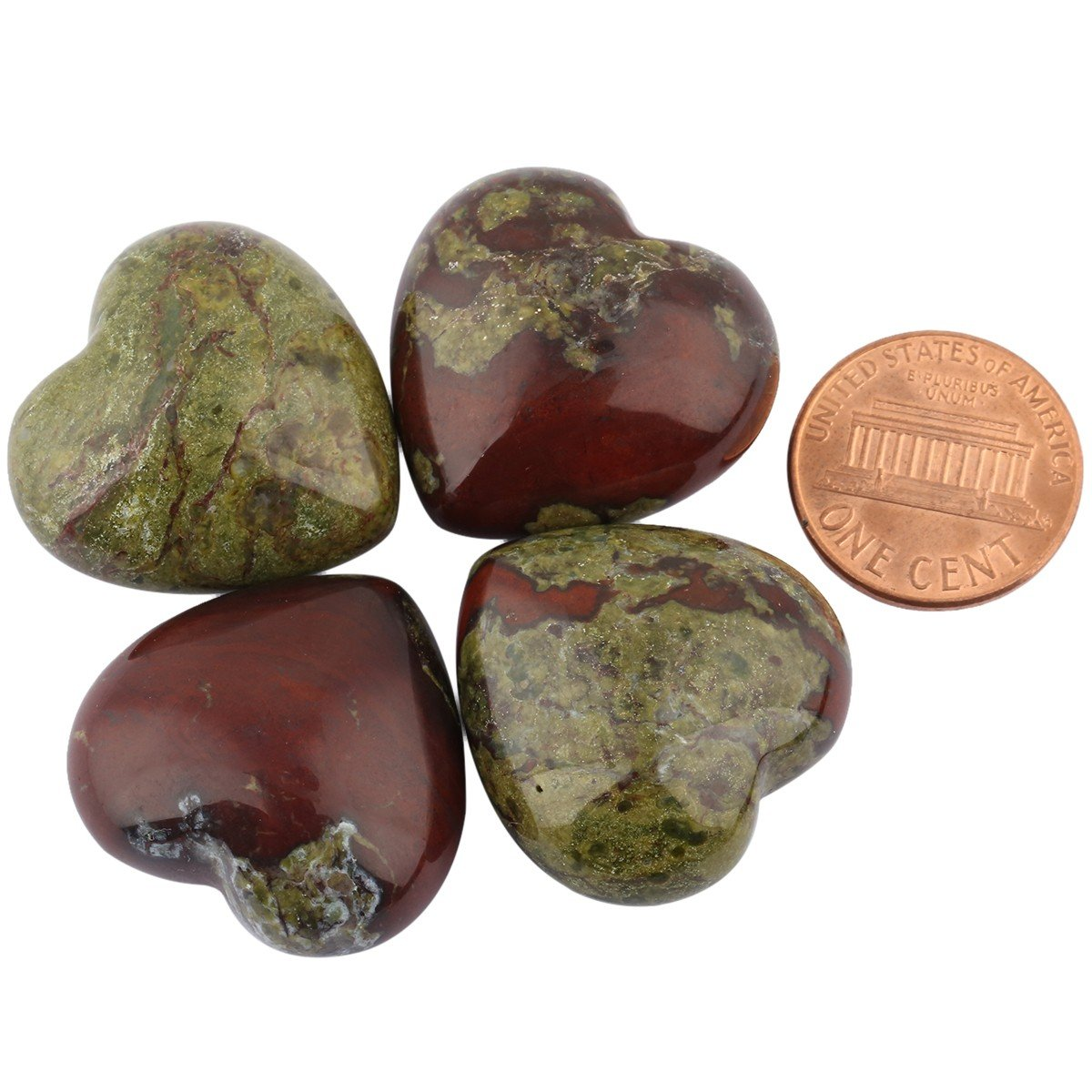 SUNYIK Dragon Blood Jasper Carved Puff Heart Pocket Stone,Healing Palm Crystal Pack of 10(0.8'') by SUNYIK (Image #2)