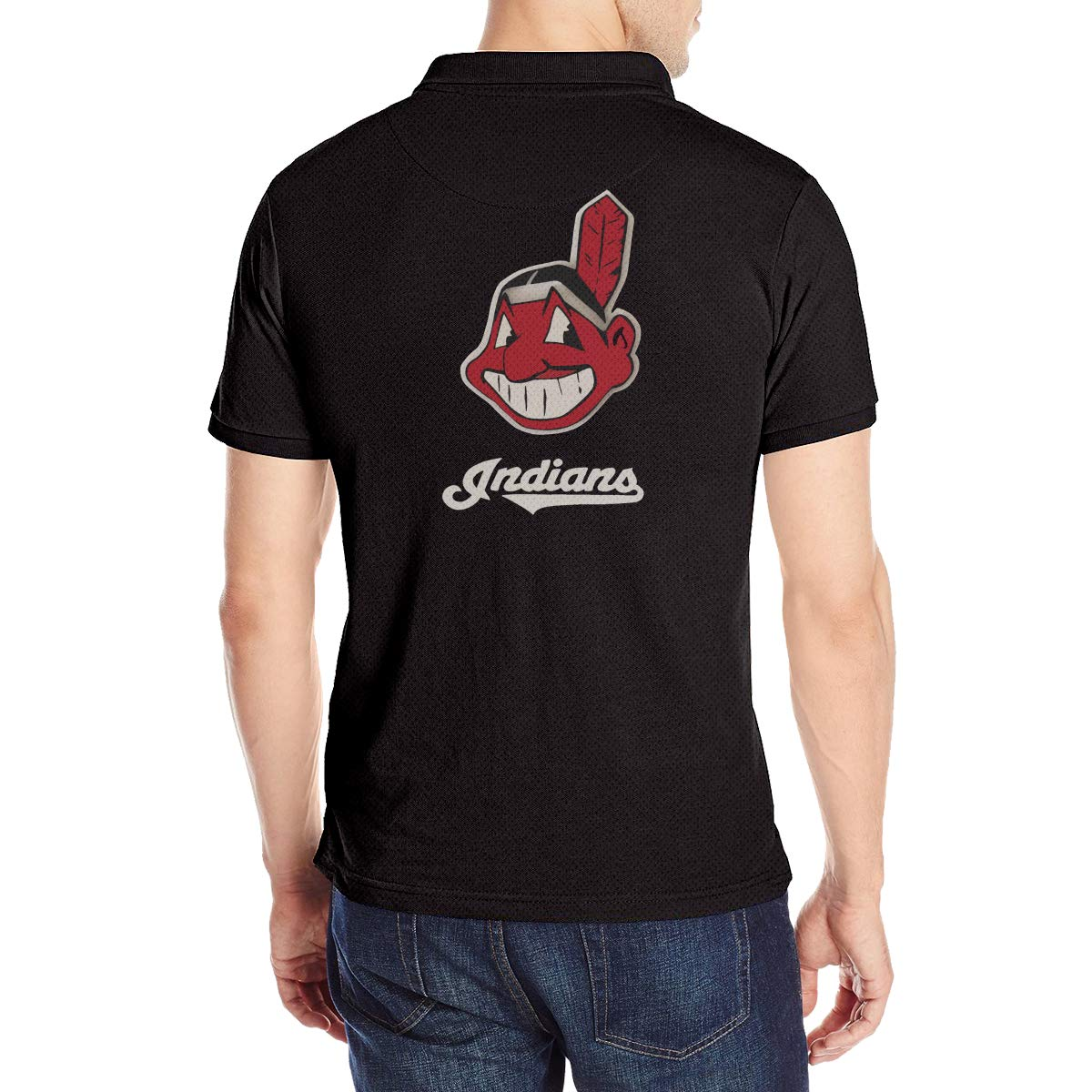 Arilce Chief Wahoo Men Polo Shirt Short Sleeve Lapel Blouse Black