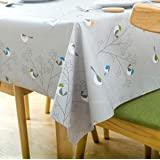 LEEVAN Heavy Weight Vinyl Rectangle Table Cover Wipe Clean PVC Tablecloth Oil-Proof/Waterproof Stain-Resistant-54X72…