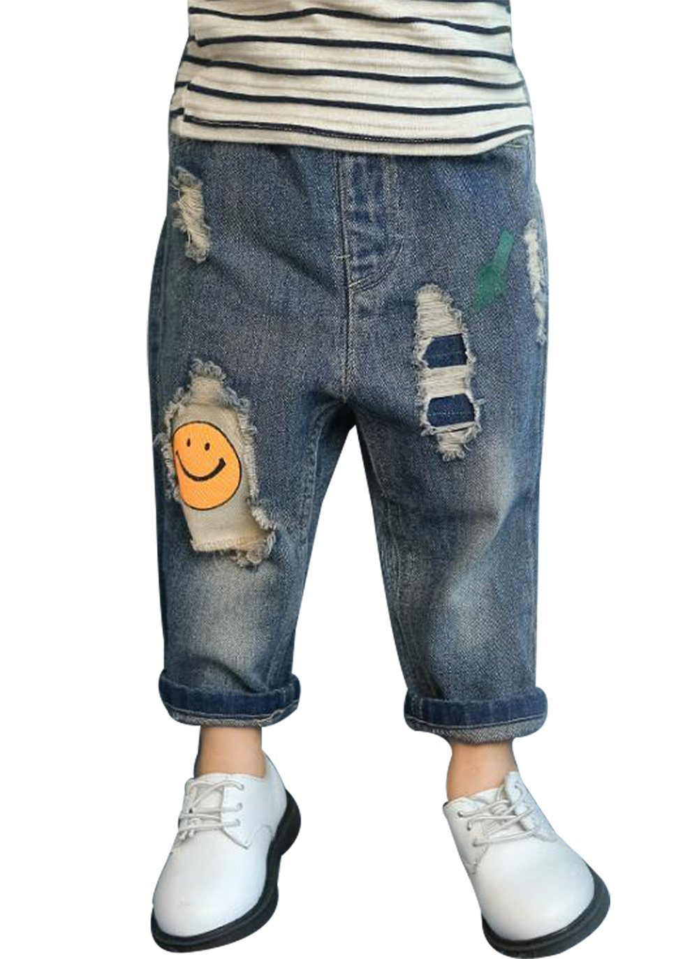 UNIQUEONE Baby Boys Girls Patch Smiley Face Print Jeans Children Broken Hole Denim Pant Size 5-6Years/Tag130 (Blue)