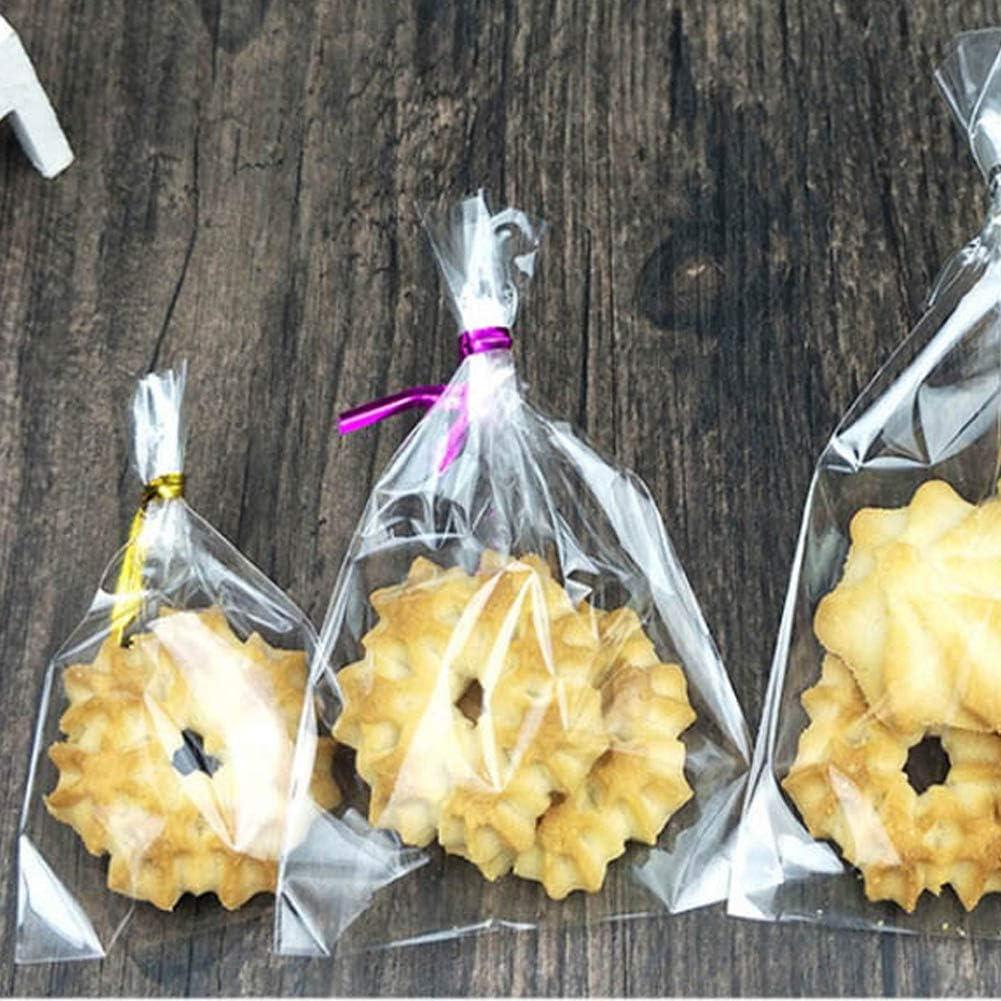 T-Language Cellophane Bag 200 pcs Clear Flat Bags 200 pcs Metal Ties Pretzel Bag Candy Bag for Wedding Party Birthday Decoration (4x6)