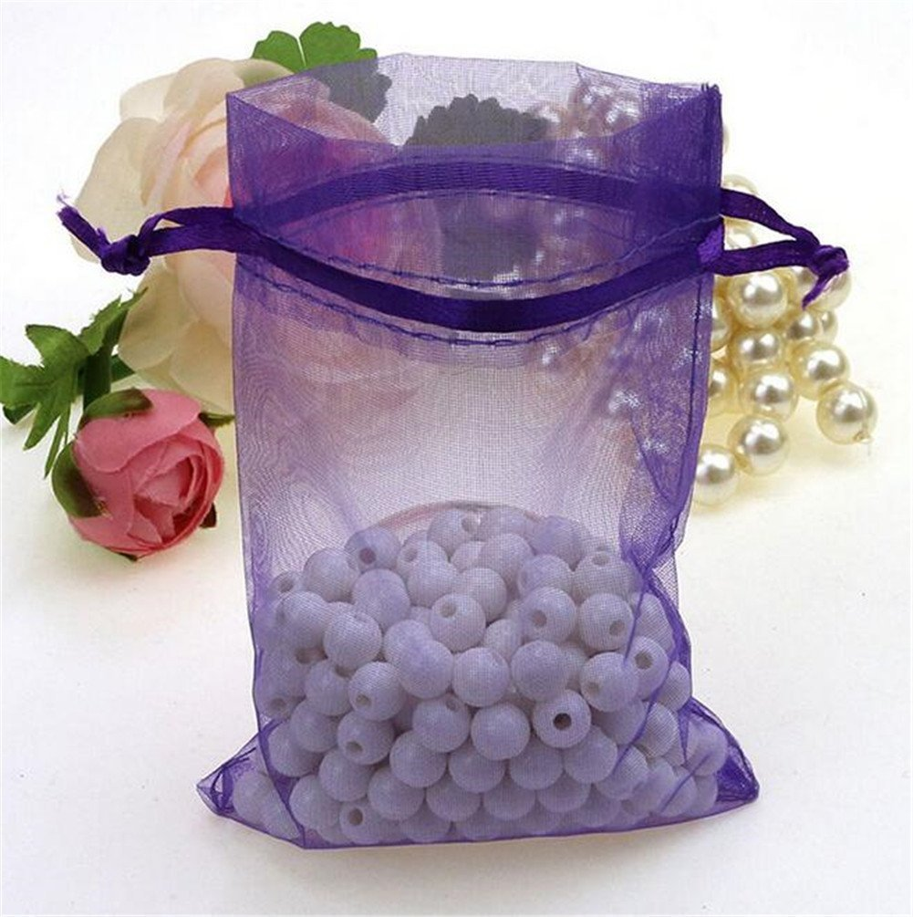 Organza Wedding Party Favor Bags- Package of 100 (6''x9'', Purple) by Ximkee (Image #3)