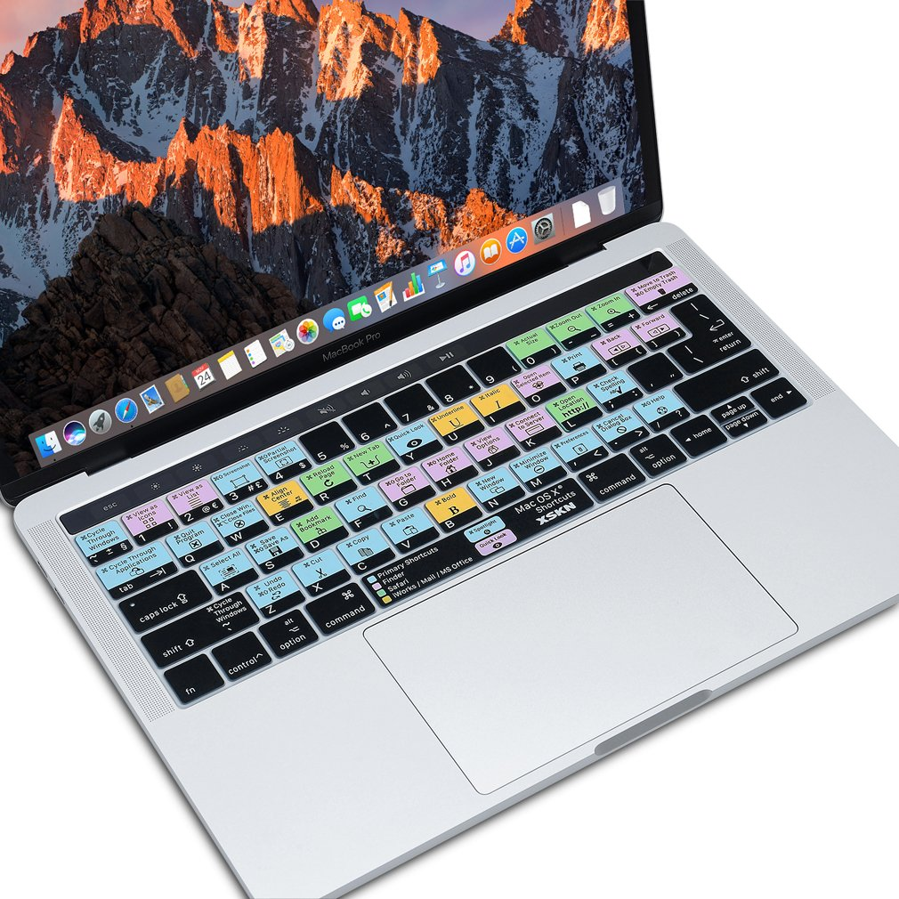 Ingl/és XSKN FCPX Final Cut Pro X atajos de de silicona de la teclado piel de la cubierta para MacBook Pro Touch bar 13//15 US y euro se adapta a todos los teclados UK A1706, A1707, A1989, A1990