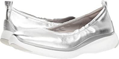 fccafce3c41 Cole Haan Women s 3 Zerogrand Ruched Slip On Ballet Flat 5 Argento  Metallic-Optic White