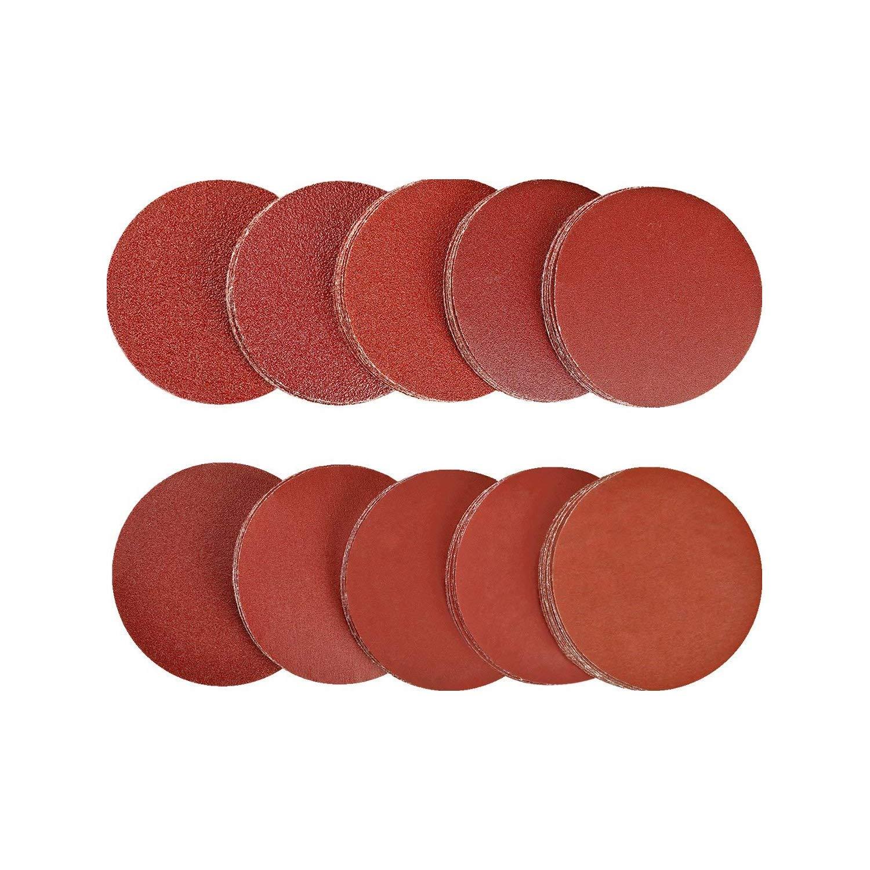SPTA Sanding Discs Pads, Hook and Loop 20x 40/80/100/180/240/320/400/800/1200/2000 (200 Pieces, 50mm) Grits Sandpaper Assorted for Random Orbital Sander
