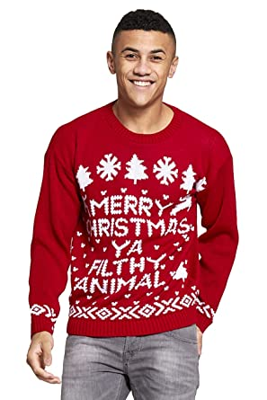 Mens Merry Christmas Ya You Filth Animal Filthy Jumper Size Small Xl