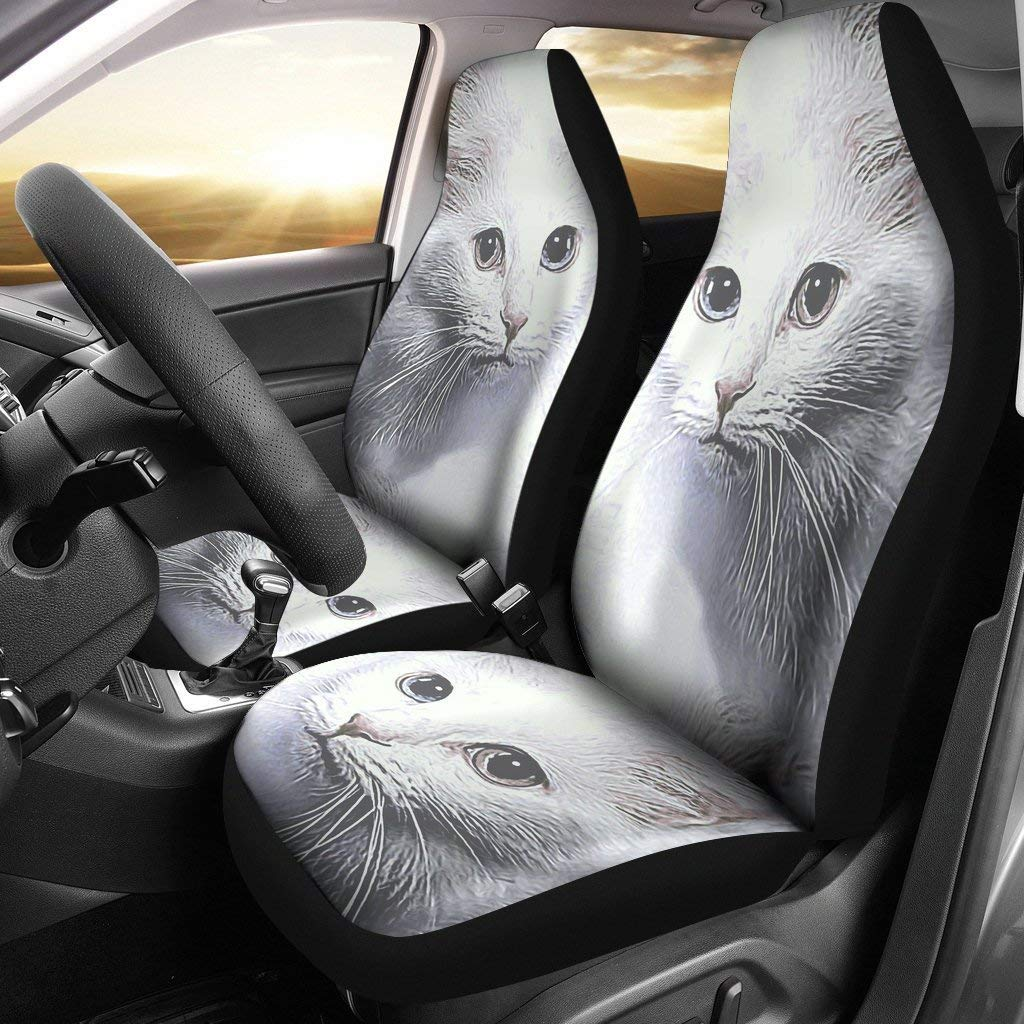 Pawzglore Turkish Angora Cat Print Car Seat Covers by Pawzglore