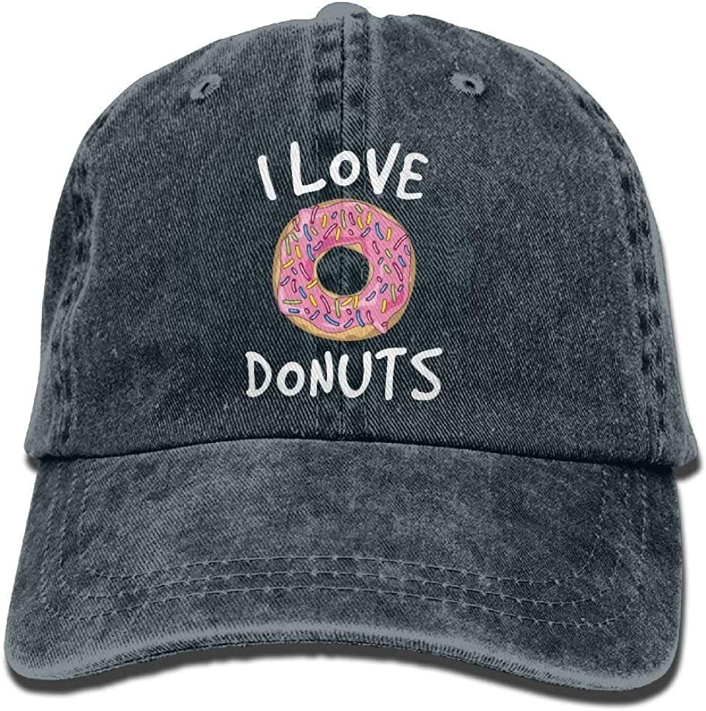 Love Donuts Trend Printing Cowboy Hat Fashion Baseball Cap for Men and Women Black W554215