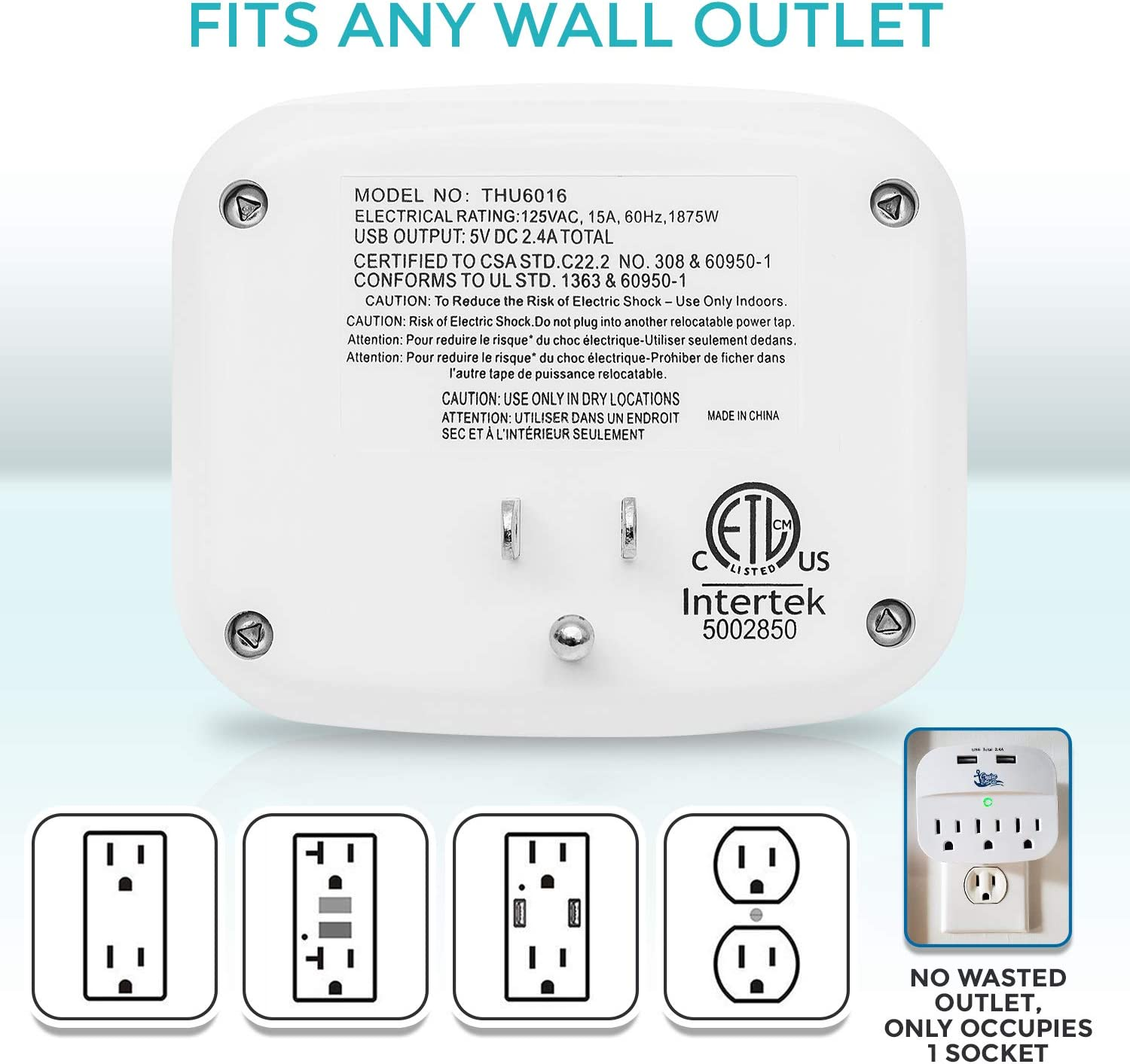 Cruise Power Strip No Surge Protector with USB Outlets - Cruise Essentials Ship Approved Travel Wall Tap - Bonus Ebook Included