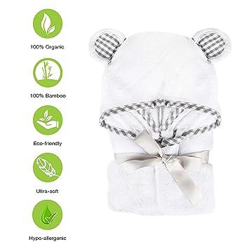 BRAND NEW Baby Hooded Towel /& 3 Washcloths Set-100/% Organic Bamboo