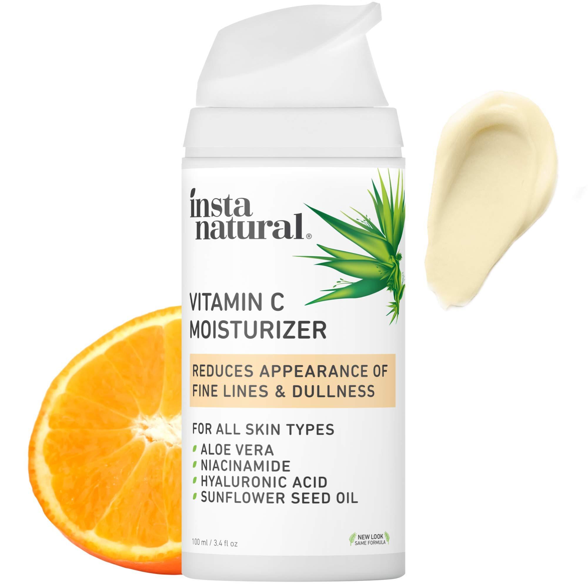 InstaNatural Vitamin C Moisturizer - Anti Aging & Wrinkle Cream - Hyaluronic Acid & Organic Jojoba Oil - Wrinkles, Hyperpigmentation & Dark Spot Corrector for Face - Men & Women - 3.4oz