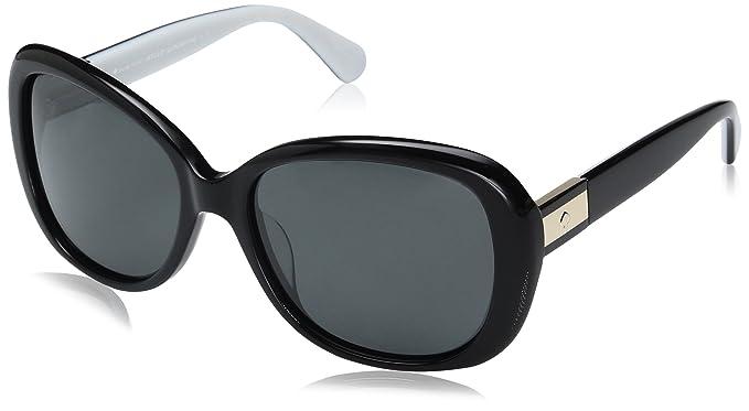 f23e4ec5247 Kate Spade Women s Judyann p s Oval Sunglasses BLACK IVORY GRAY POLARIZED 56