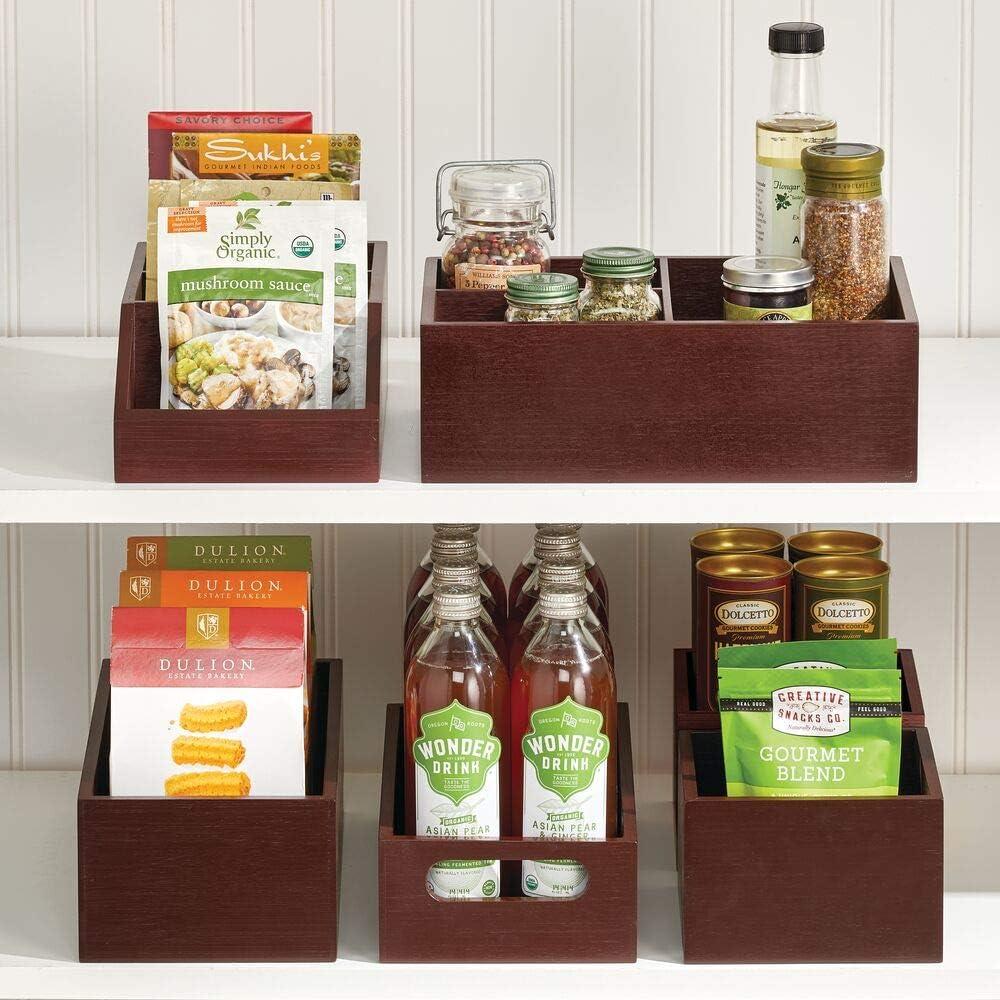 pour les /épices couleur bambou ou les bouteilles boite en bois pratique pour les aliments boite en bambou ouverte /él/égante pour la cuisine mDesign caisse de rangement /à poign/ées les noix