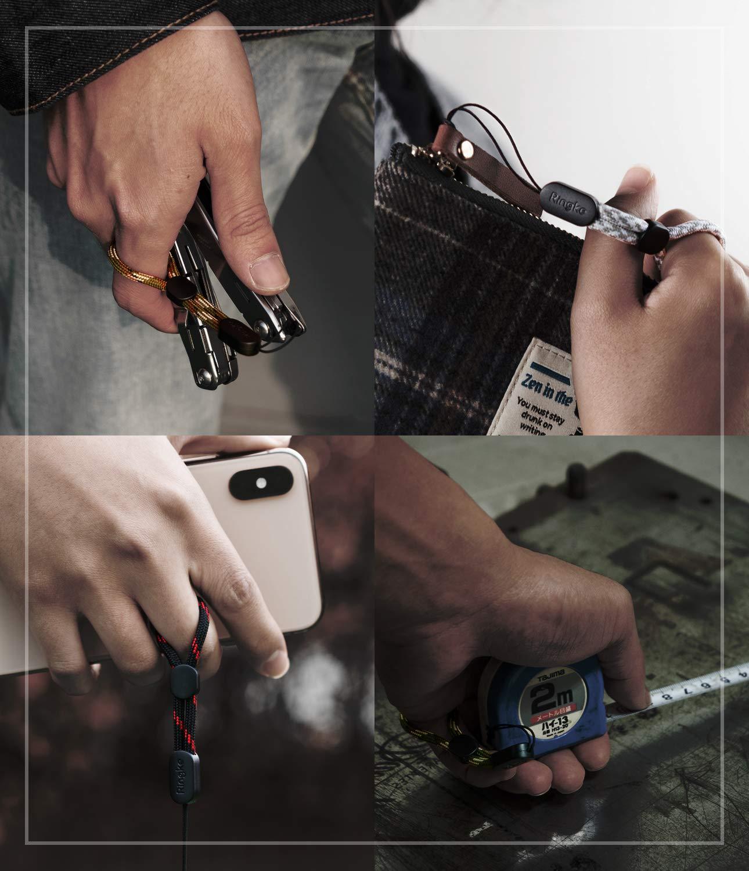Compatible con Tel/éfonos Celulares Carcasas de Tel/éfonos C/ámaras Ringke Lanyard Finger Strap Llaves Paquete de 4 GoPro y m/ás Correa de Dedo de Cord/ón