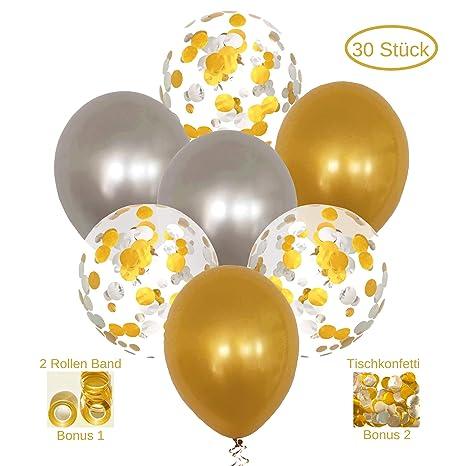 Airkisses Konfetti Luftballons Gold Silber Partydeko Hochzeit Geburtstagsdeko