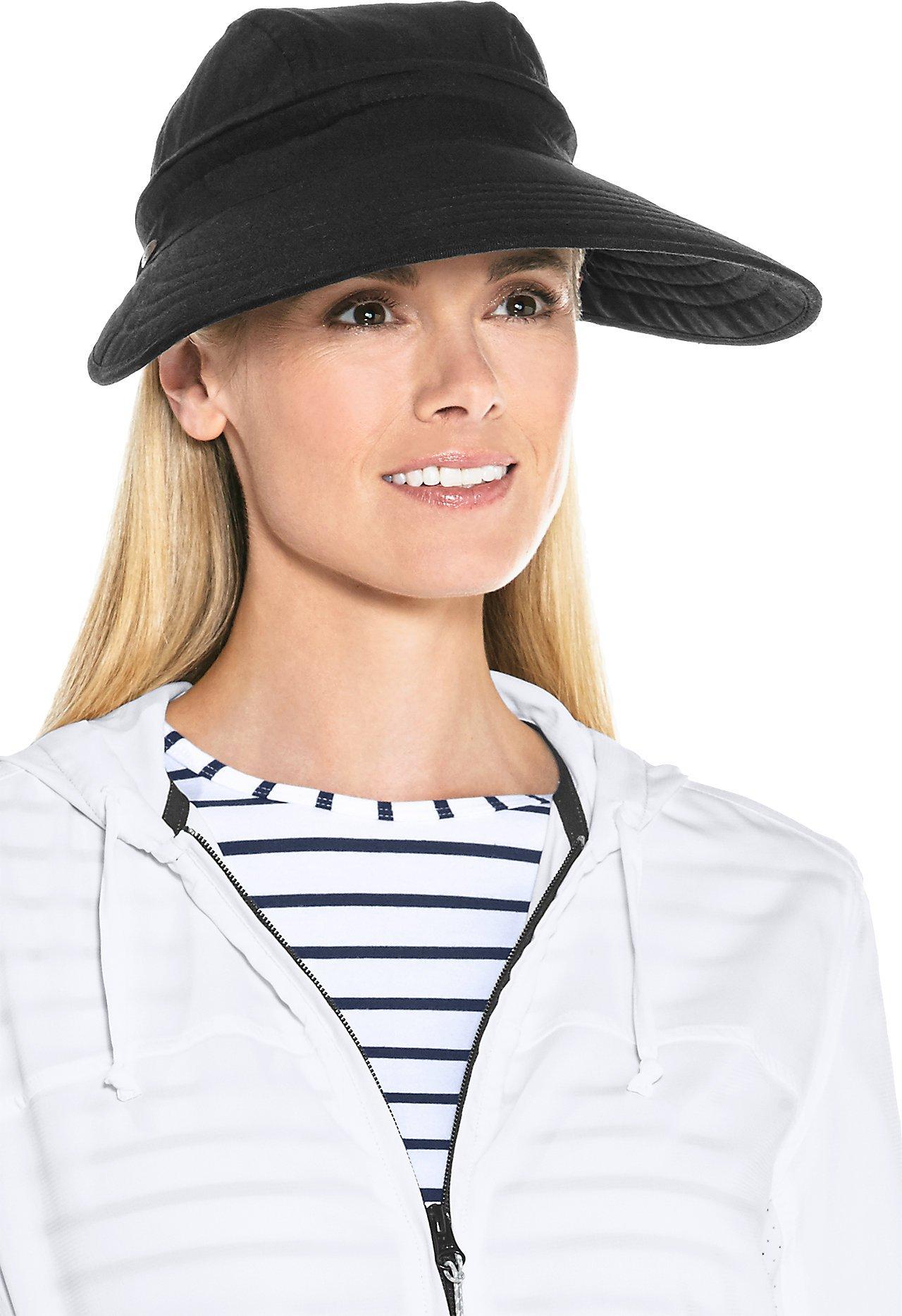 Coolibar UPF 50+ Women's Bel Aire Zip-Off Sun Visor - Sun Protective (One Size- Black)