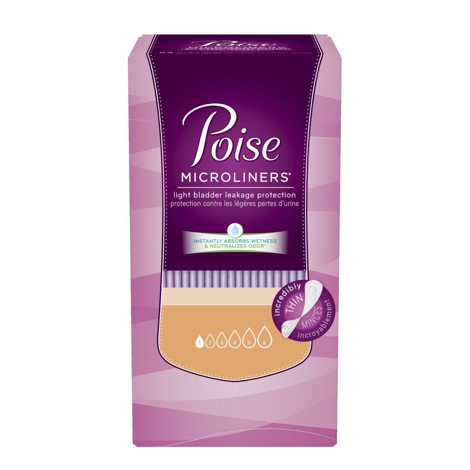 Poise Microliners, Long Length - Lightest Absorbency, 50 Count (Pack of 2) by Poise