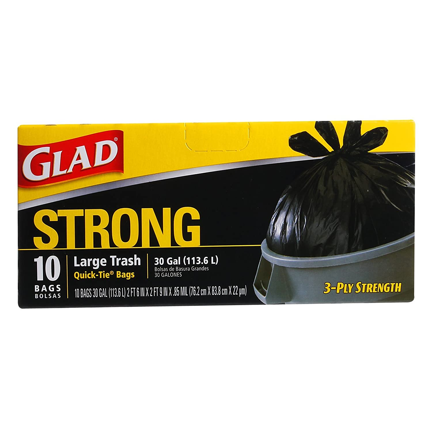 Amazon.com: Glad 30 Gal. Quick Tie Large Trash Bags 10 ct ...