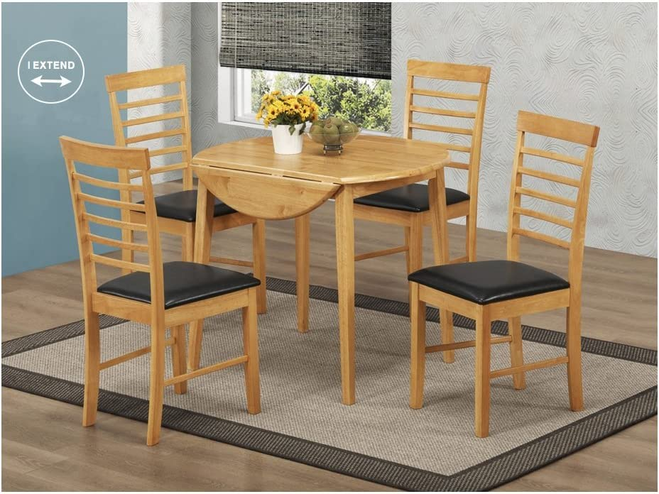 Oak Finish Hardwood Dining Table Set Round Drop Leaf Dining Set Extending Dining Table With 2 Chairs Dining Room Furniture Amazon De Kuche Haushalt