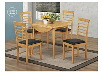 5cbd8c48eff71 Oak Finish Round Drop Leaf Dining Set - Round Drop Leaf Dining Set (Table  with
