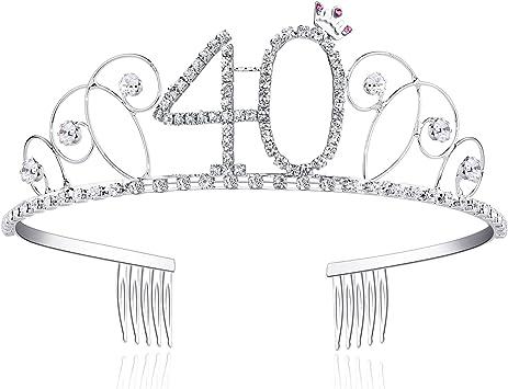 Babeyond Couronne Anniversaire 60 Ans Bandeau Anniversaire Bling Cristal Tiara Couronne Joyeux Anniversaire 16//18//20//21//30//40//50//60//70//80//90 Ans