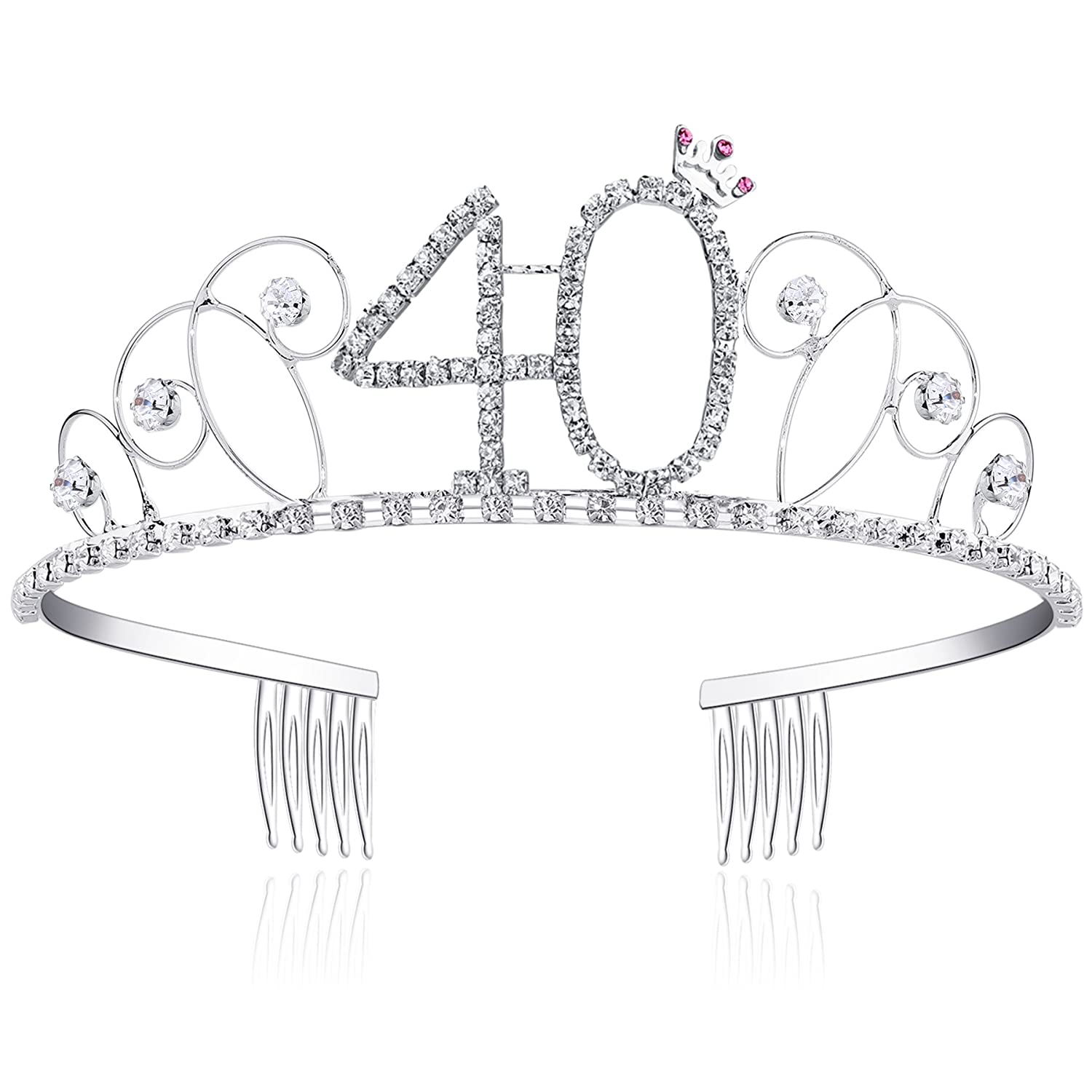 BABEYOND Crystal Tiara Birthday Crown Princess Crowns Hair Accessories Silver Diamante Happy 18/20/30/40/50/60th Birthday (40 Birth)