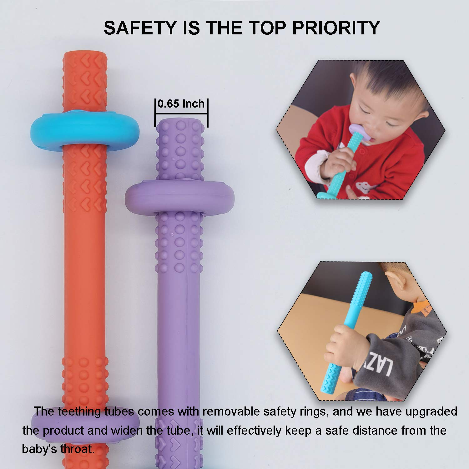 PEKUO Baby Hollow Teething Tubes with Safety Rings The Original Teether and Sensory Baby Toy for 0+ Months Food-Grade Soft Silicone BPA Free Freezer Safe Dishwasher Safe