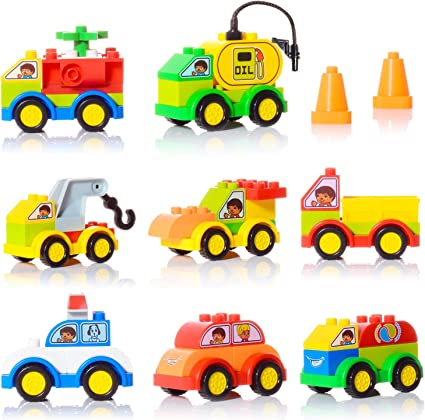 48 Pieces Building Bricks Building Toy Cars Set with 8 Mini Vehicles Early Educational Set with Storage Box STEM Gift Toys Bricks for Toddlers 1-3 Boys Girls Large Building Blocks for Toddlers