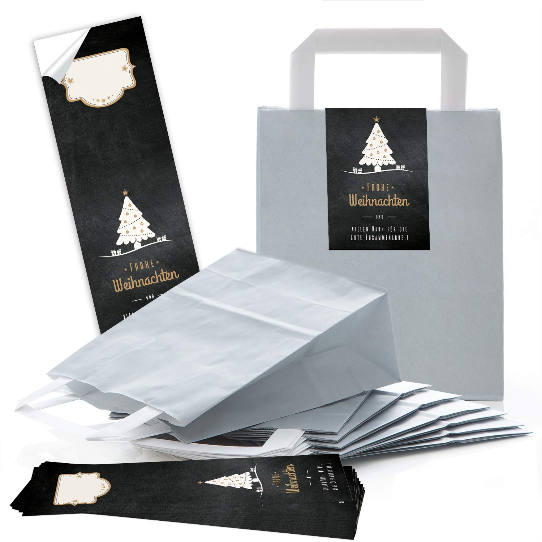 Lot de 25 sacs en papier de Noël gris clair avec fond 18 x 8 x 22 cm + 25 autocollants FROHE WEIHNACHTEN DANKE