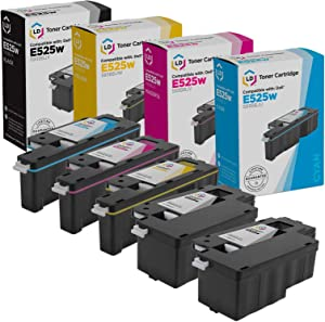 LD Compatible Toner Cartridge Replacement for Dell E525w (2 Black, 1 Cyan, 1 Magenta, 1 Yellow, 5-Pack)
