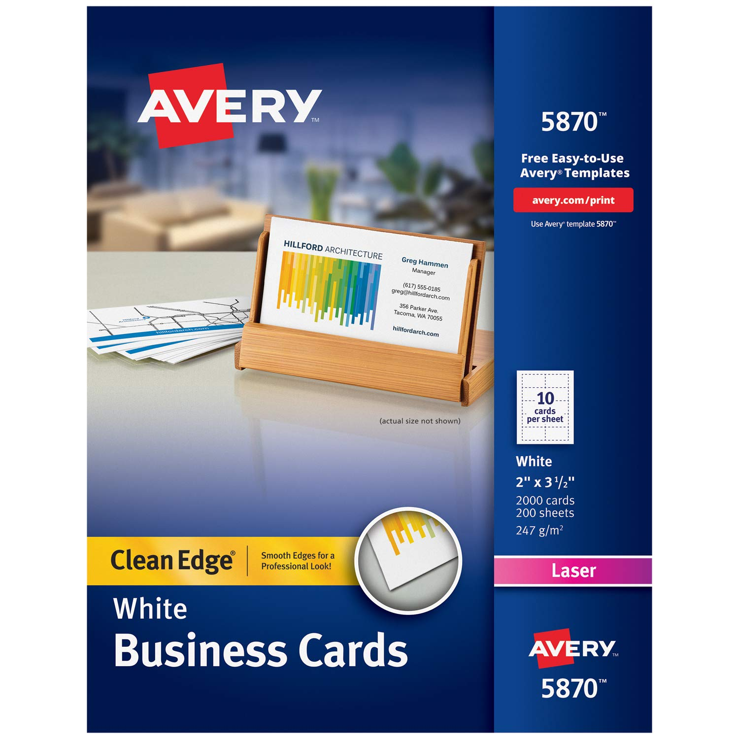 Avery Printable Business Cards, Laser Printers, 2,000 Cards, 2 x 3.5, Clean Edge (5870), White by AVERY
