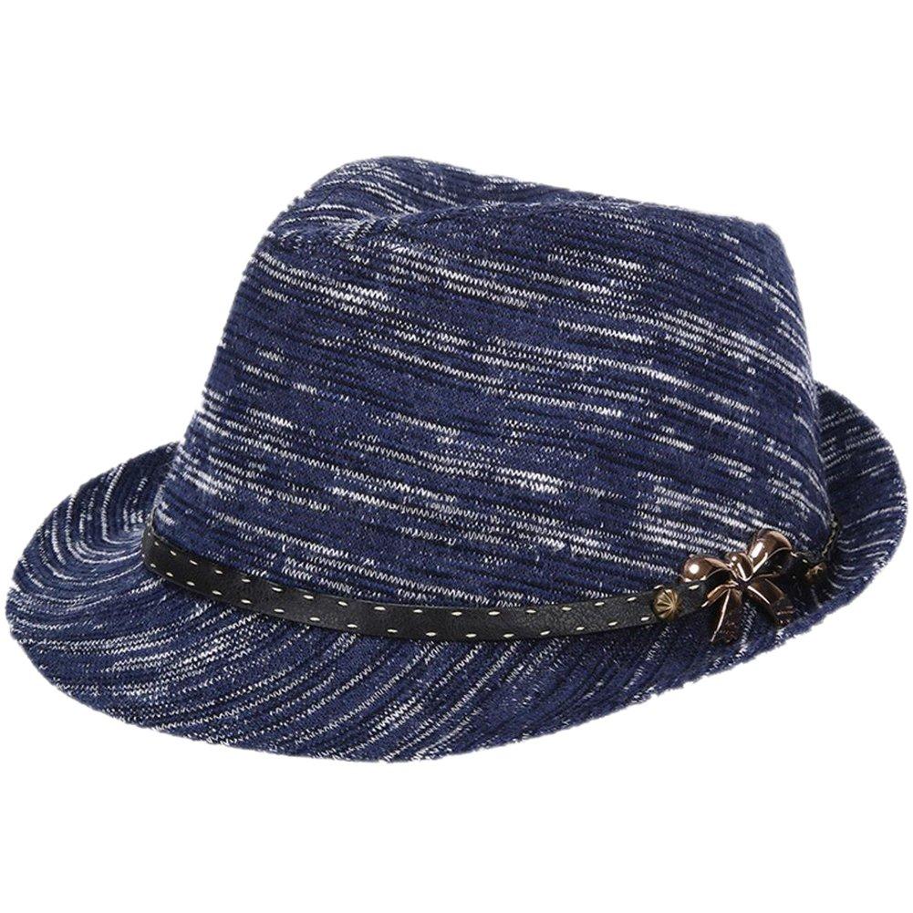 Leisial™ Filzhut Frauen Jazzhut Farbe Fühlte Hut Herbst und Winter Warm Halten Hut Frauen Panamahüte Mit Bowknot Grau 57CM A53G1W17RFBO12FT0