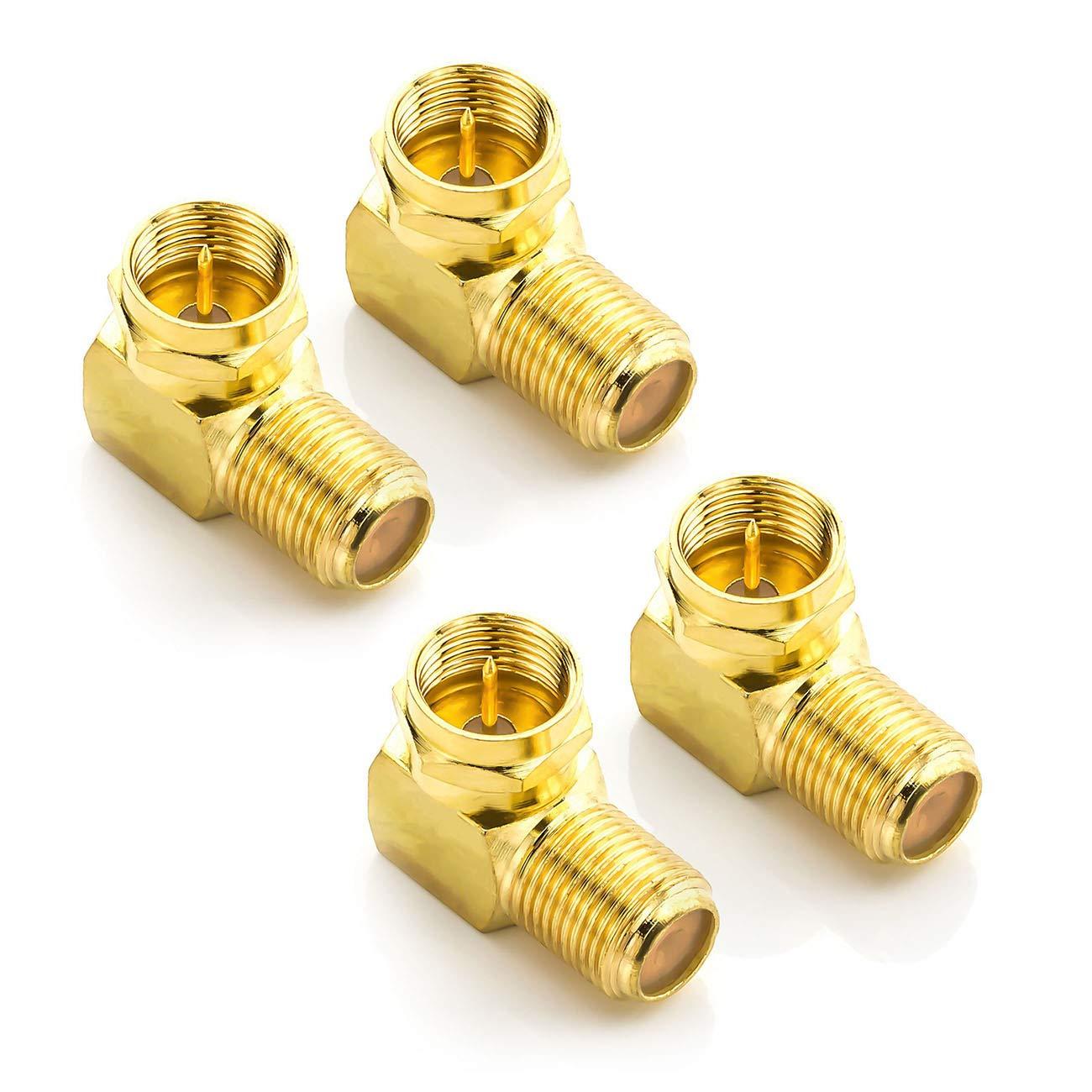 deleyCON 6X Adaptador de /Ángulo Sat 90/° Grados para Cable Coaxial 7mm Adaptador F Socket F por Cable v/ía Sat/élite Enganche Enchufe /Ángulo F Chapado en Oro 6 Piezas