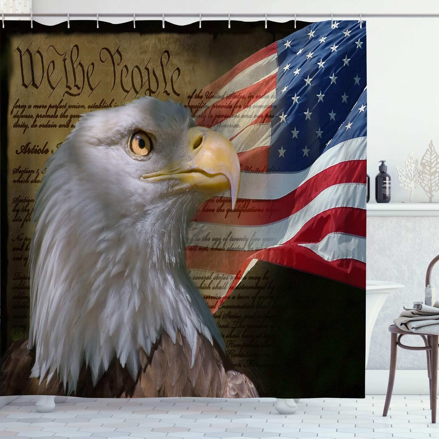 American Flag Shower Curtain USA Patriotic Eagle Stars and Stripes Flag Fourth of July Independence Day Themed Home Decor Waterproof Bath Curtains with Hooks 72 x 72 inch