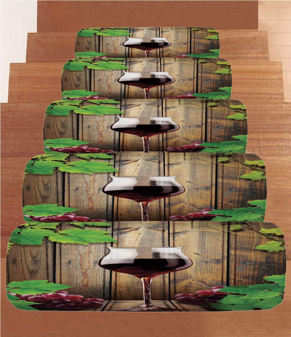 iPrint Non-Slip Carpets Stair Treads,Modern,Wine Glass Grapes Rustic Wood Kitchenware Home and Cafe Interior Art Design Decorative,Brown Green Burgundy,(Set of 5) 8.6''x27.5''