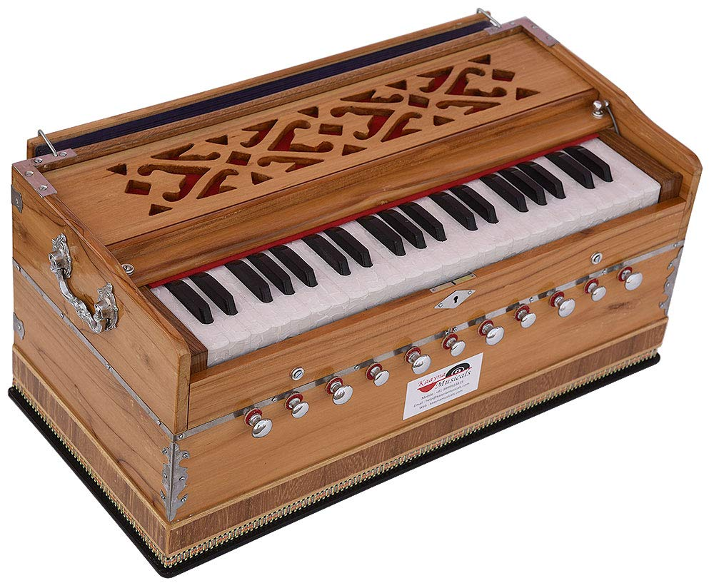 Harmonium Teak Wood By Kaayna Musicals, 11 Stops- 6 Main & 5 Drone, 3½ Octaves, Coupler, Natural Wood Color, Gig Bag, Bass/Male Reed- 440 Hz, Best for Yoga, Bhajan, Kirtan, Shruti, Mantra, etc by Kaayna Musicals (Image #6)