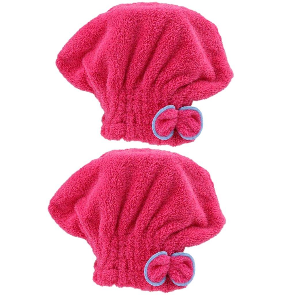 MagiDeal 2 Stück Mikrofaser Haartrockenhaube Kopfhandtuch Kopftuch Haarturban, Weich und Schnell Trocken Haar Handtuch, Niedliche Schleife Design, Super Wasserabsorbierend