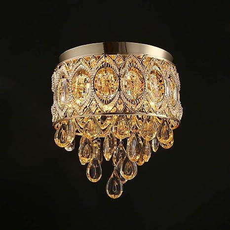 Lustre plafón cristal dorado Design Lámpara De Techo ámbar ...