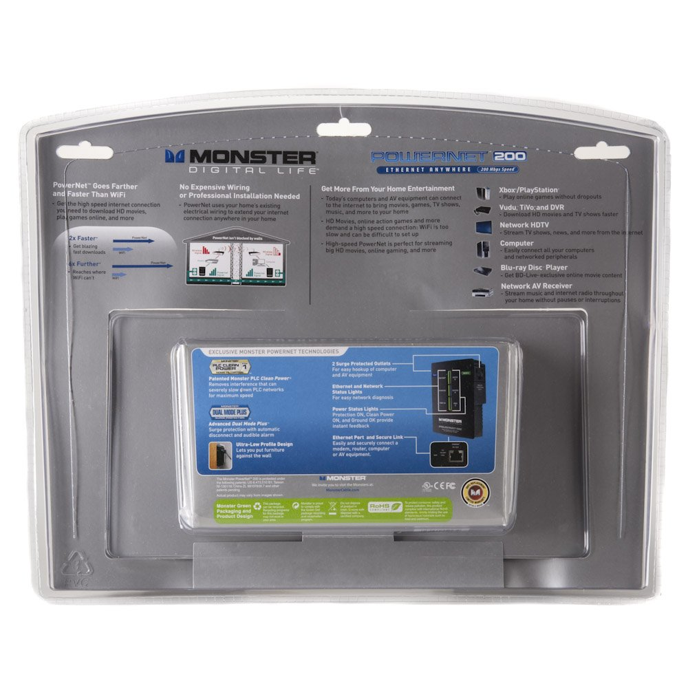 Monster PowerNet 200 Powerline Network Module with Clean Power (Discontinued by Manufacturer) by Monster