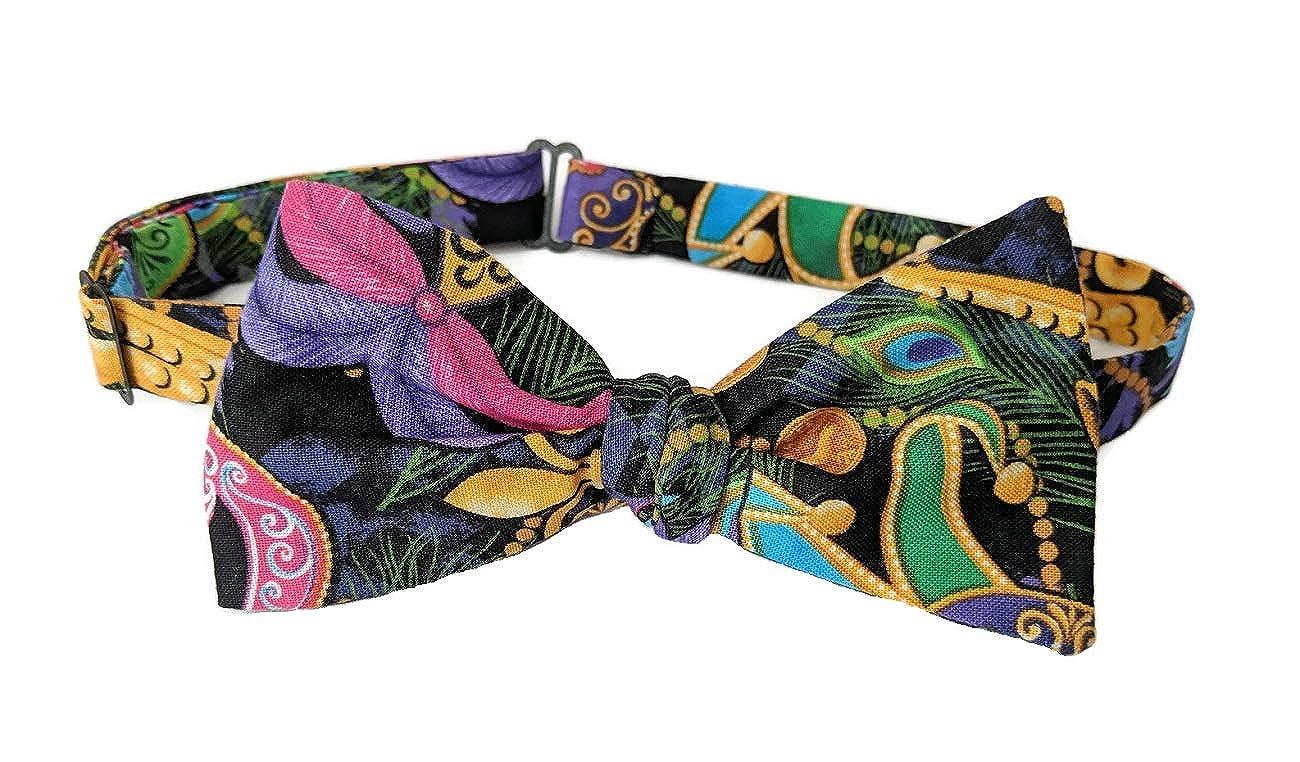 Mens Bow Tie Mardi Gras Masquerade Mask /& Fleur De Lis Self-tie