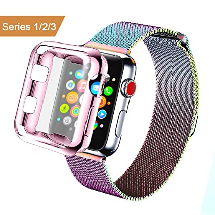 best service fe1ab 3683a AdMaster for Apple Watch Band 38mm 42mm Stainless Steel Metal Replacement  Wristband Milanese Sport Strap and Apple Watch Screen Protector for Apple  ...
