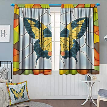 Butterflies,Blackout Curtain,Butterfly in Stained Glass